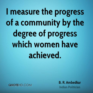 measure the progress of a community by the degree of progress which ...