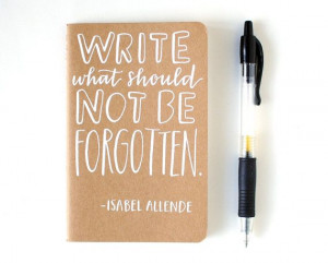 Small Notebook // Isabel Allende Quote, Hand Lettered, Pocket Journal ...