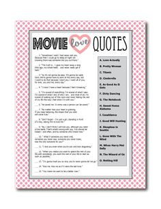 Printable Movie Love Quotes Game - Perfect for a bridal shower game ...