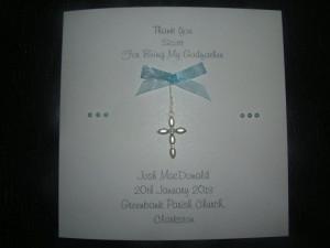 ... Thank You Christening Baptism Godparents Godmother Godfather card