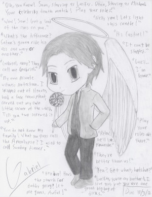 Supernatural - chibi Gabriel+quotes by VampireFreakism