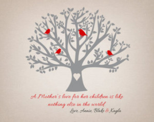 ... Mom - 8x10 Art Print, Tree with Birds, Mom Quote, Poem, Gift from Kids