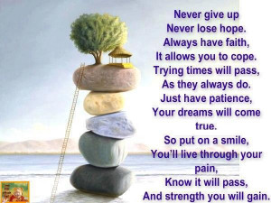 Never Give Up Never Lose Hope,Always have Faith ~ Inspirational Quote