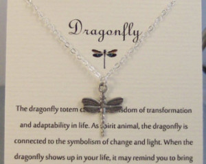 Dragonfly,Neckalce,Silver Dragonfly,Silver Necklace,Jewelry,Poem,Quote ...