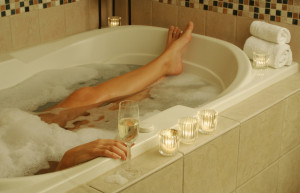 ... of a wonderful bath – a glass of wine, candles, bubbles, and ALONE