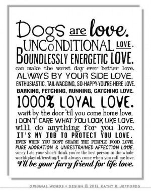 ... Wall Art. I Love My Dog Quotes Poster. Gift For Dog People Or Animal