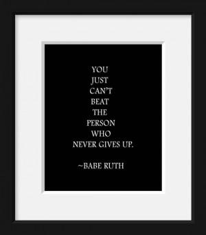 Babe Ruth, Baseball, quote, sports, baseball decor, typography print ...