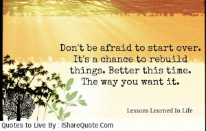 Don't be afraid to start over…