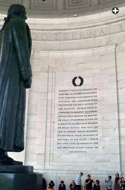 inside the Jefferson Memorial in Washington, D.C. quotes Jefferson ...