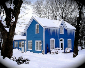 blue winter trees architecture house icicles 1280x1024 wallpaper