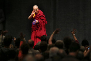 """The Dalai Lama gives audience a farewell after """"His Holiness the ..."""