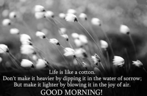 Life is like a cotton , Don't make it heavier by dipping in it the ...
