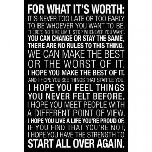 For What It's Worth Quote (Black)Motivational Poster - 19x13