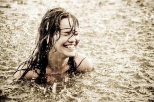 bath, dark hair, girl, girls, happy, joy, ocean, rain, smile, swimming ...