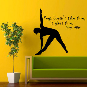 ... : wall decals, yoga gives time, quote, Vinyl Decal and sport girl