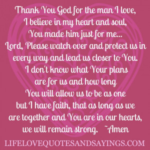 ... Love And Strength: Thank You God For The Man I Love Quote In Pink