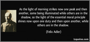 the light of morning strikes now one peak and then another, some being ...