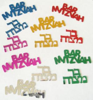 Bar Mitzvah Confetti in Hebrew & English, Multi Colored