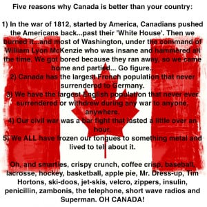 Greetings to all our Canadian visitors & friends!