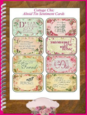 Cottage Chic Quotes Altoid Tin Covers Printable Labels Digital