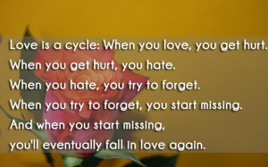 Love is a cycle when you love, you get hurt. when you get hurt, you ...