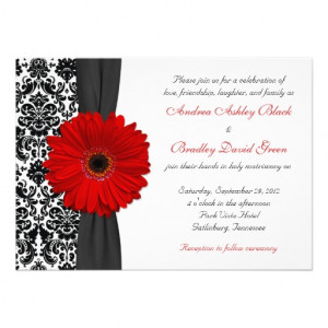 Gerber Daisy Red Black White Damask Wedding Personalized Invites