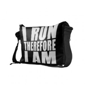Funny Runners Quotes Jokes I Run Therefore I am Courier Bag
