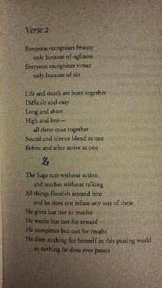Verse 2 of the Tao Te Ching More