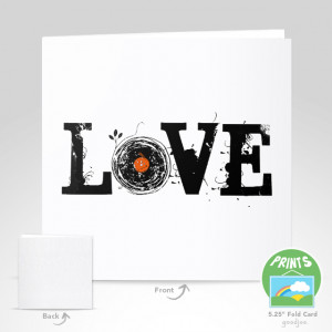 Love Vinyl Records Grunge Vintage Retro T Shirt Stationery Card