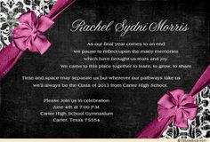 High School Graduation Party Ideas | Elegance Graduation Invitation ...