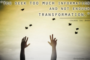 You seek too much information and not enough transformation.""