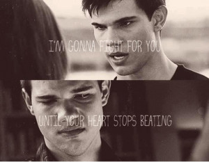 Taylor Launter as Jacob in the twilight quote to Kristen as Bella
