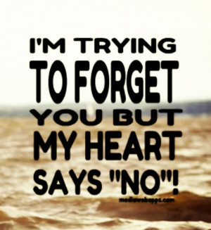 trying to forget you but my heart says NO.