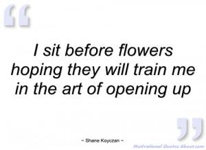 sit before flowers hoping they will shane koyczan