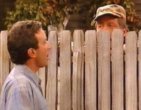 Tim Taylor talking to his eccentric neighbor, Wilson Wilson Jr.