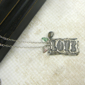 Quote about Love, Romantic, Playful, Pure Silver Tag, Birthstone ...