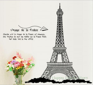 Black Paris Art Eiffel Tower with French Quote Wall Stickers House ...