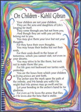 On Children Kahlil Gibran poster (sm) - Heartful Art by Raphaella ...