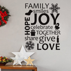 Wall Lettering - Family celebrate together Holiday Wall Art Quotes ...