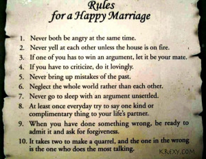 Rules To A Happy Marriage