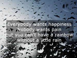 Quotes on rain – Everybody wants happiness, nobody wants pain