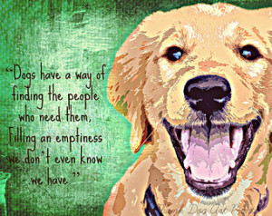 Golden Retriever Dog Digital Art Print With Quote