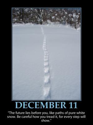 DECEMBER 11 ~ INSPIRATIONAL ADVENT CALENDAR ~ Tracks in the Snow