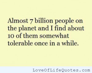 Almost 7 billion people on the planet