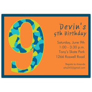 Birthday Boy Camo 8th Birthday Invitations