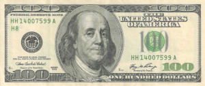 Ben Franklin's Face is on the US 100 dollar bill.]