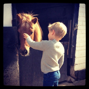 Saying goodbye to his horse.