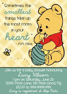 winnie pooh baby shower | Winnie the Pooh Baby Shower Invitation ...