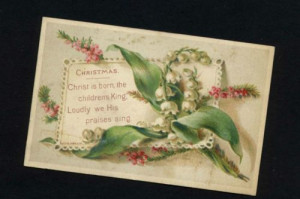 ... Victorian Religious Christmas Card Pub M Ward Flowers and Quote 1876
