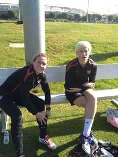 Heather O'Reilly and Megan Rapinoe, training camp, December 2011. (@ ...